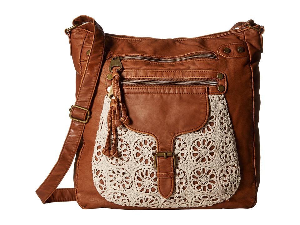 Gabriella Rocha - Nellie Washed Crossbody with Crochet Pocket (Cognac) Cross Body Handbags