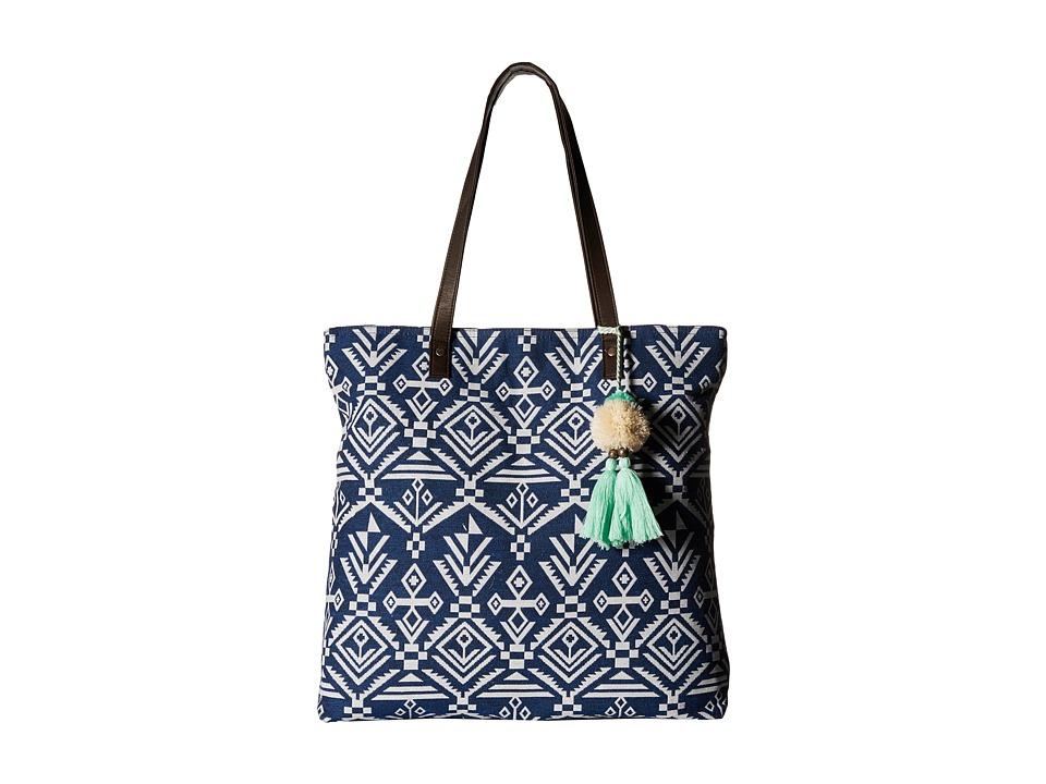 Gabriella Rocha - Hanna Printed Tote with Tassel (Blue) Tote Handbags