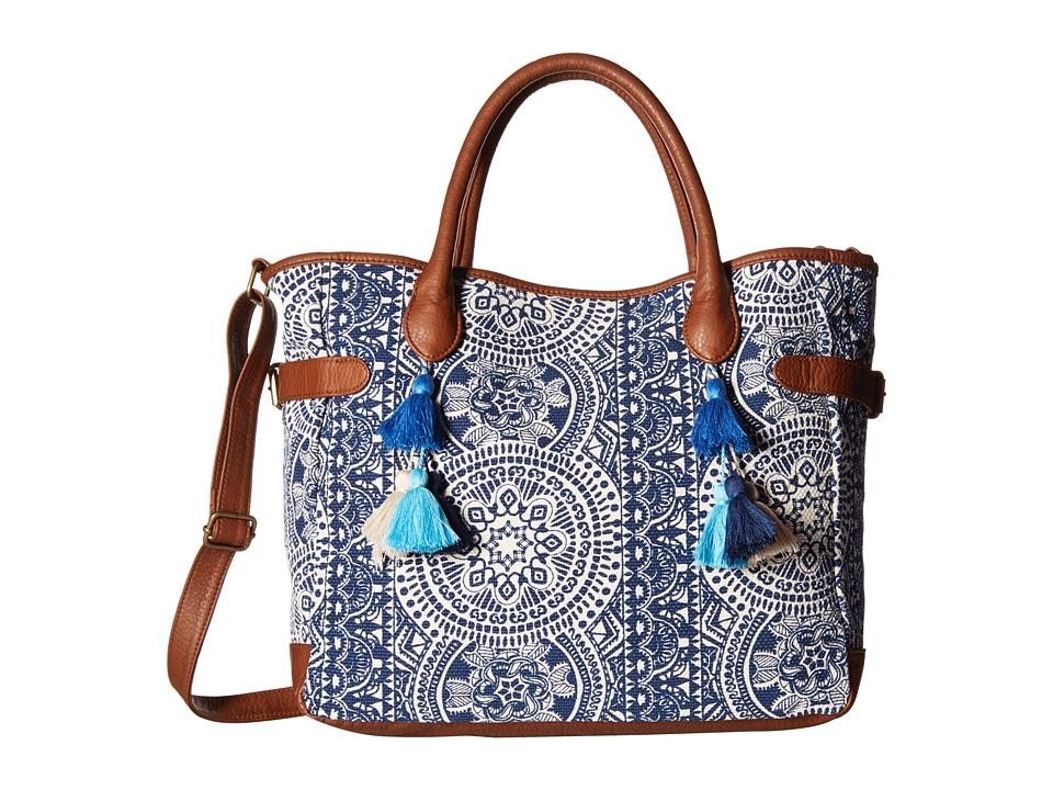 Gabriella Rocha - Amber Printed Tote with Tassels (Blue) Tote Handbags