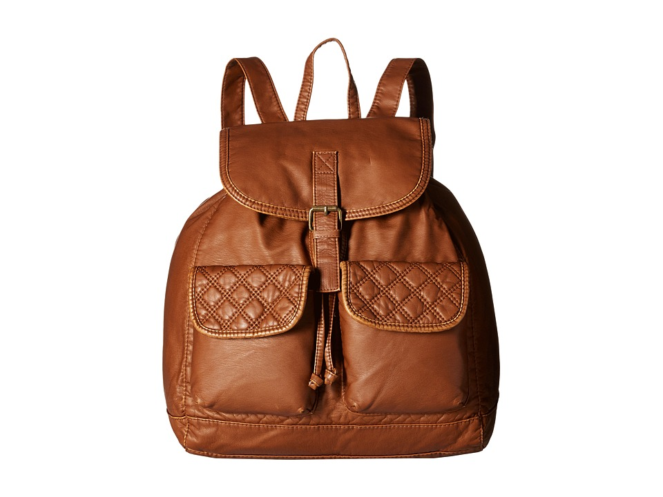 Gabriella Rocha - Talullah Washed Backpack with Quilted Pockets (Cognac) Backpack Bags