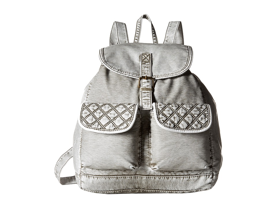 Gabriella Rocha - Talullah Washed Backpack with Quilted Pockets (Denim Grey) Backpack Bags