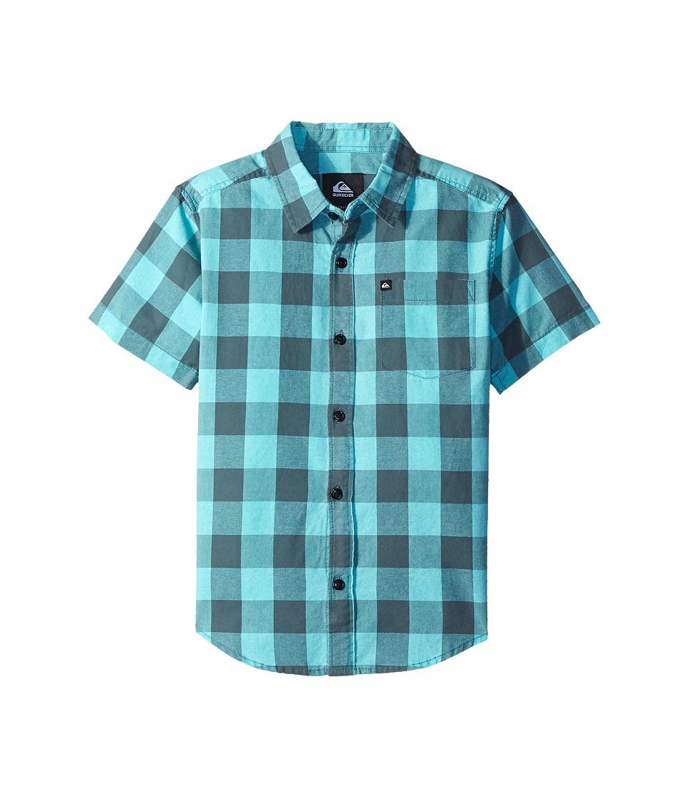 Quiksilver Kids - Metric Shirts (Big Kids) (Pool Green) Boy's Short Sleeve Button Up