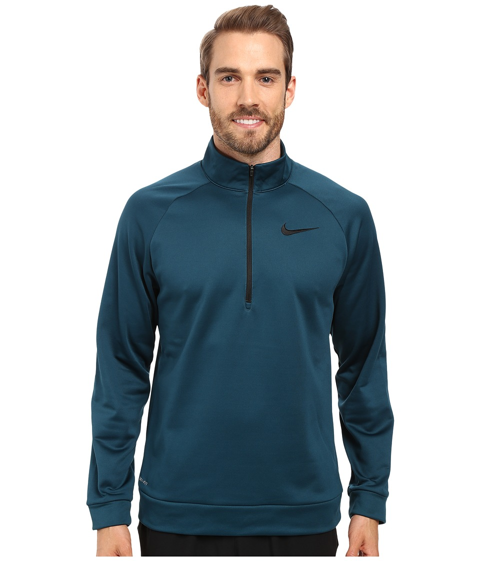Nike - Therma 1/4 Zip Pullover (Midnight Turquoise/Black) Men's Clothing