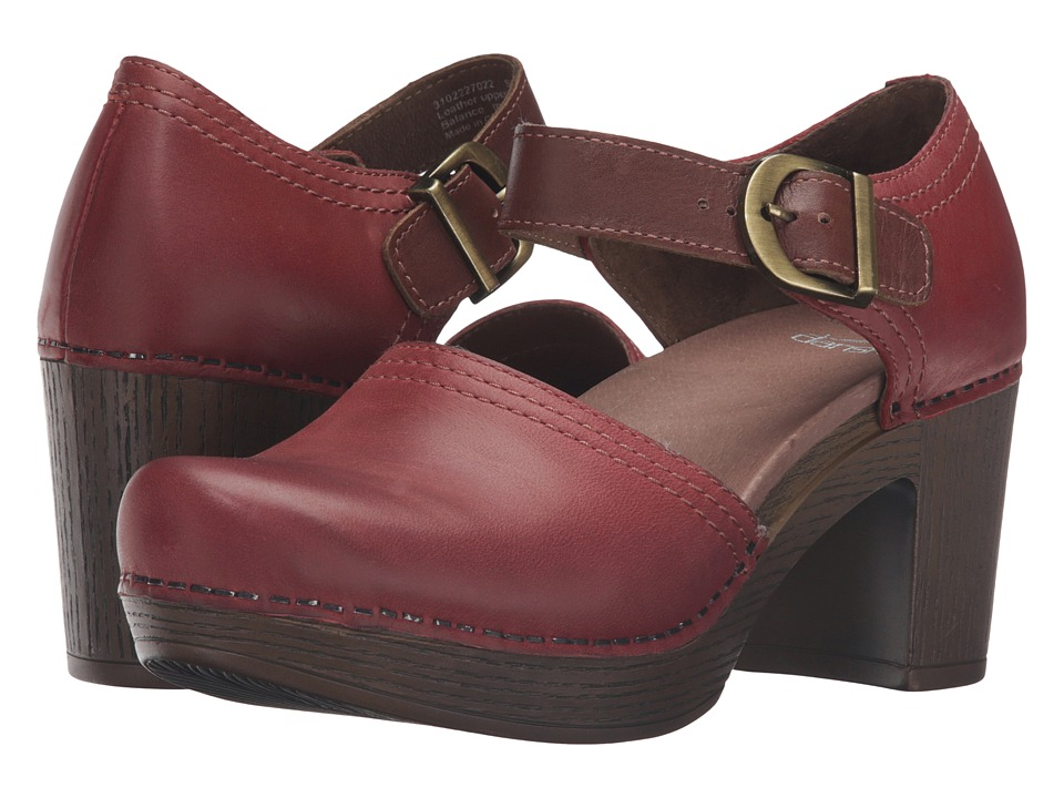 Dansko - Darlene (Red Full Grain Leather) Women's Clog Shoes
