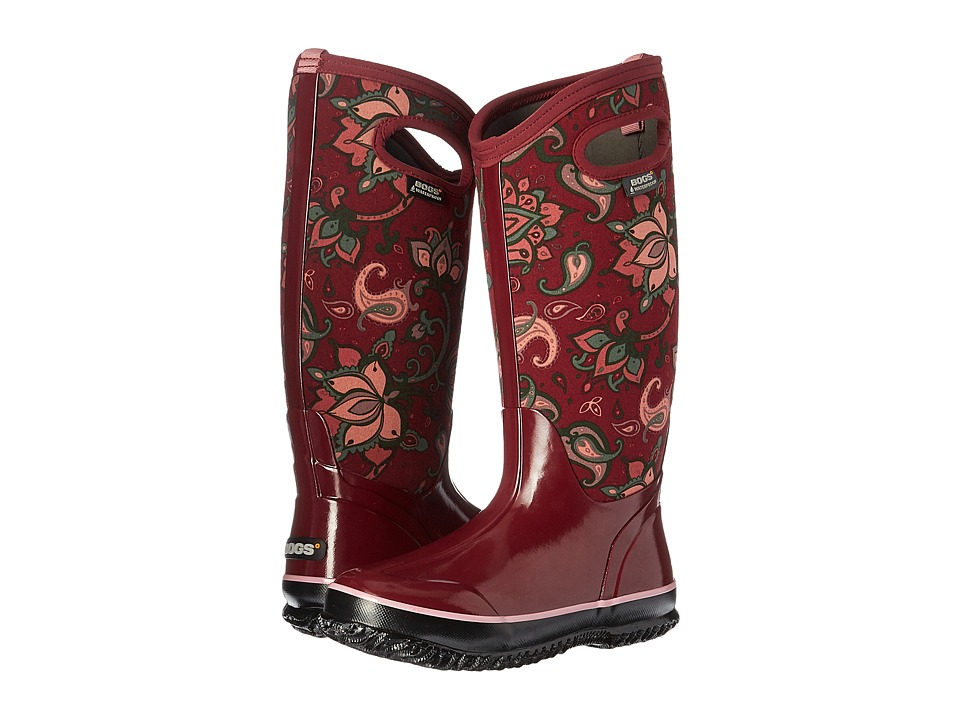 Bogs Classic Paisley Floral Tall (Burgundy Multi) Women