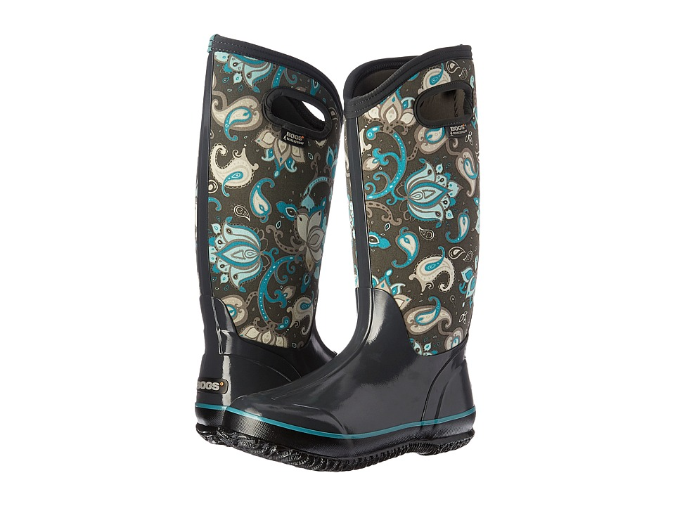 Bogs - Classic Paisley Floral Tall (Dark Gray Multi) Women's Waterproof Boots