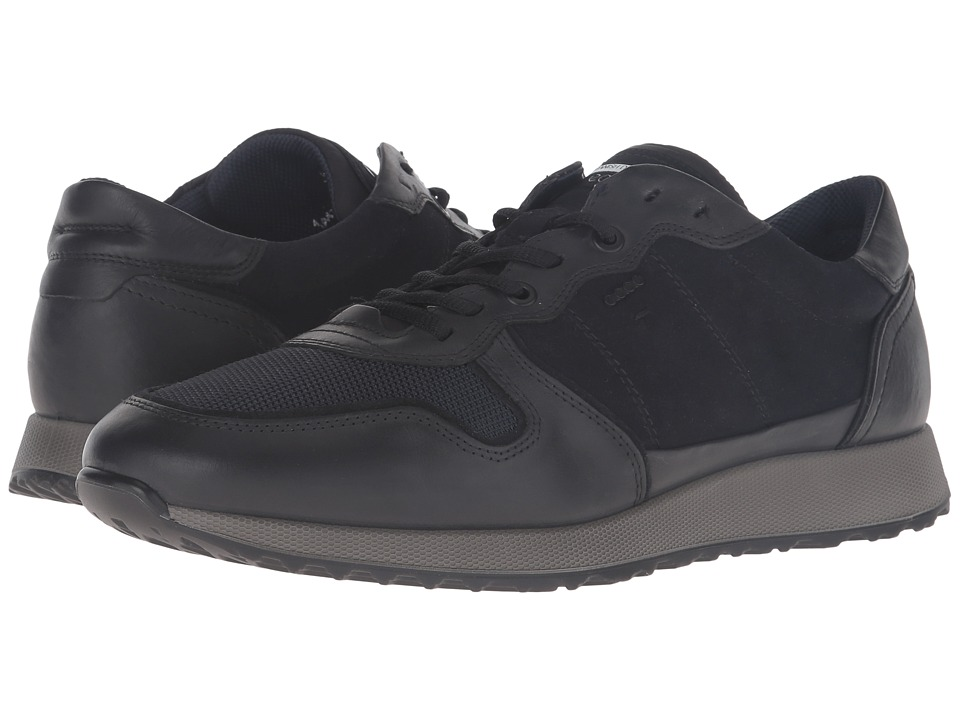 ECCO Sneak Tie Black-Marine-Navy Mens  Shoes