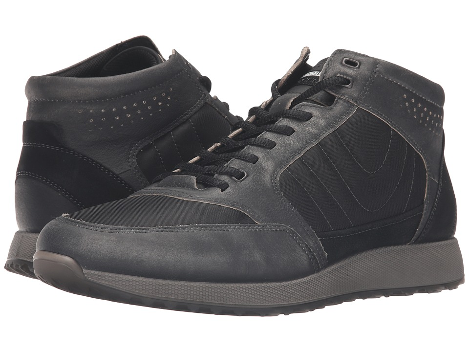 ECCO - Sneak High (Black/Black) Men's Shoes