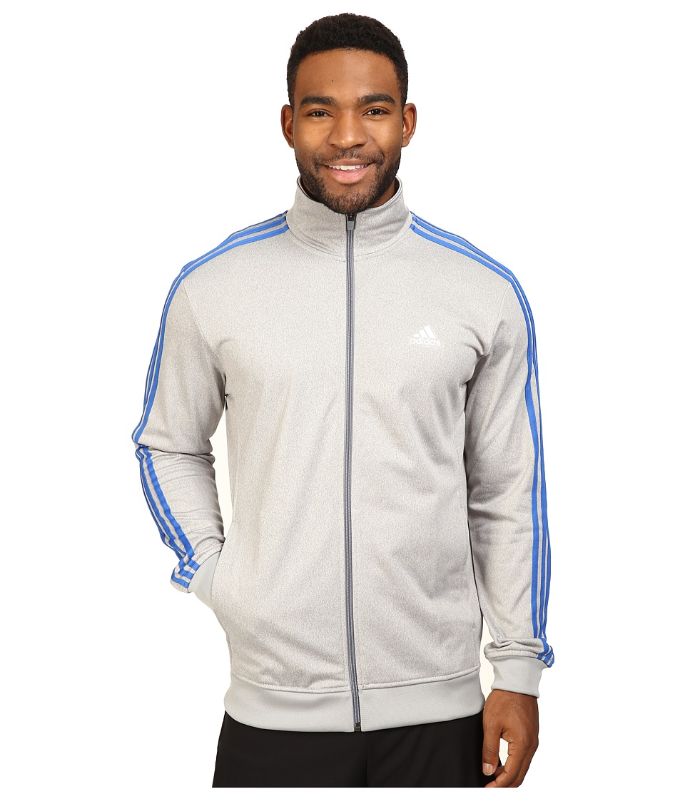 adidas - Essentials Track Jacket (Medium Grey Heather/Solid Grey/Colored Heather/Blue) Men's Coat