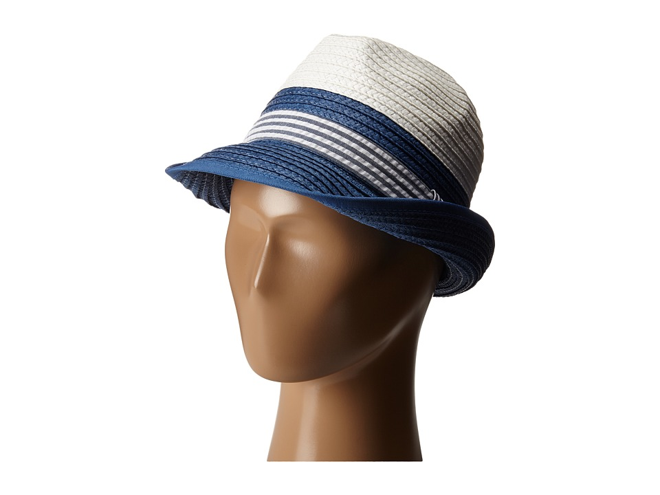 Appaman Kids - Mercer Straw Fedora (Infant/Toddler/Little Kids/Big Kids) (Indigo Stripe Seersucker) Fedora Hats
