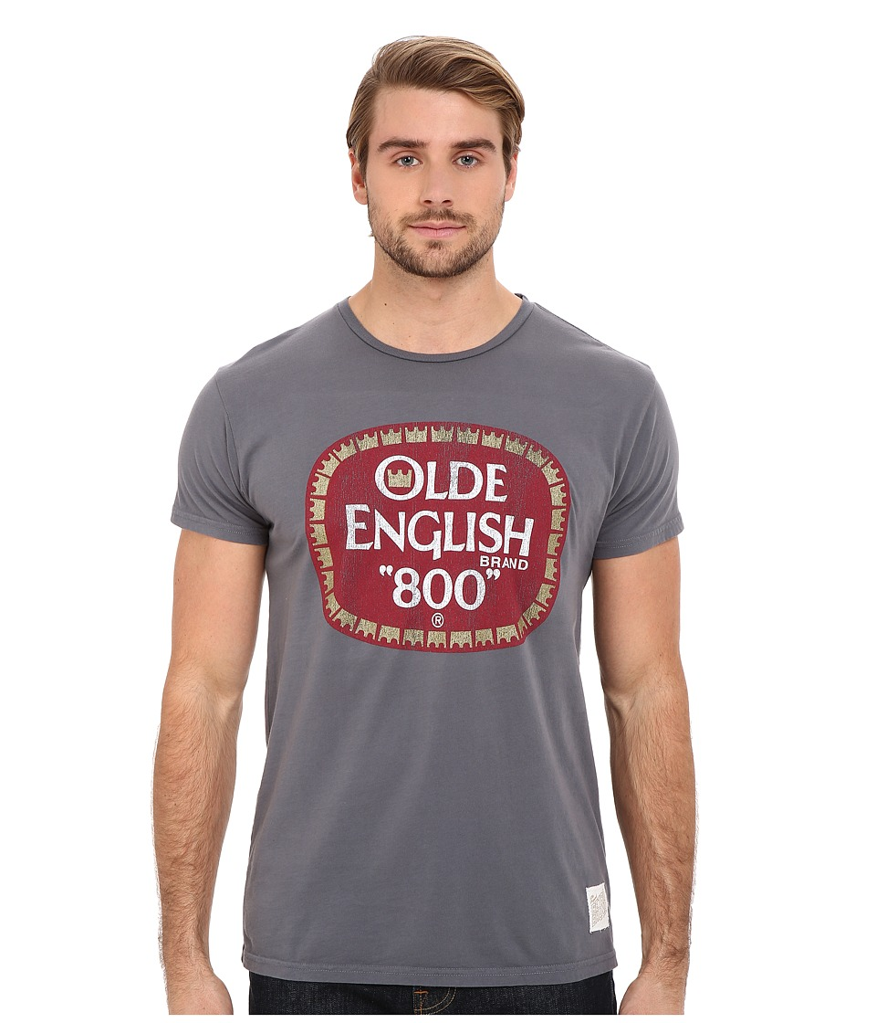 The Original Retro Brand - Vintage Cotton Old English Short Sleeve Tee (Charcoal) Men's Short Sleeve Pullover