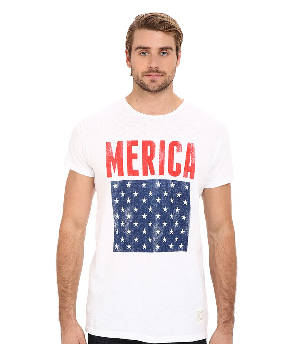 The Original Retro Brand - Short Sleeve Vintage Cotton Merica Tee (White) Men's Short Sleeve Pullover
