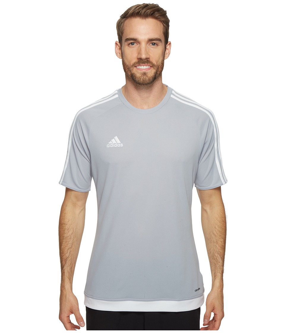 adidas - Estro 15 Jersey (Light Grey/White) Men's Short Sleeve Pullover