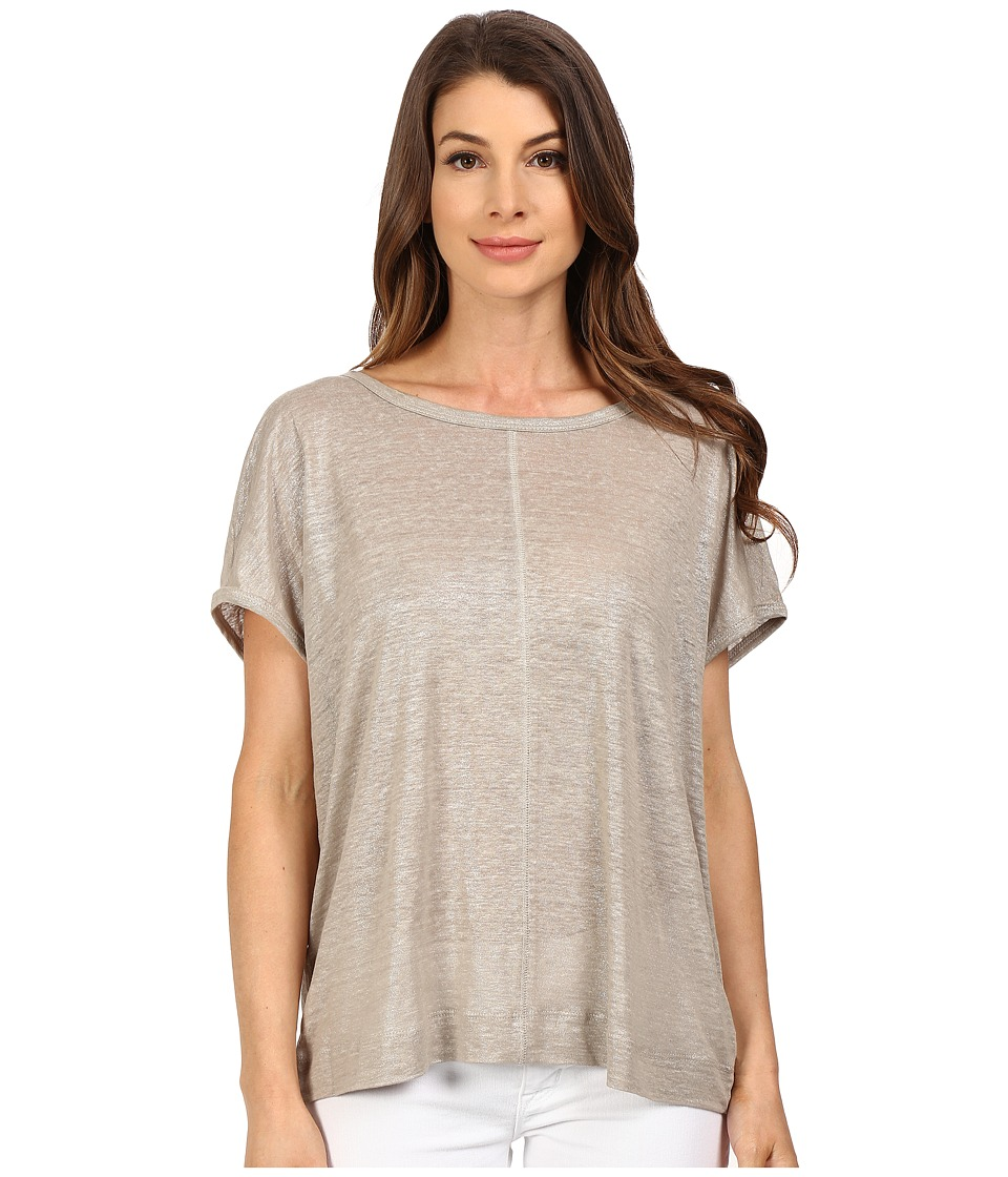 The Beginning Of - Metallic Slub Oversized Tee (Sand) Women's T Shirt
