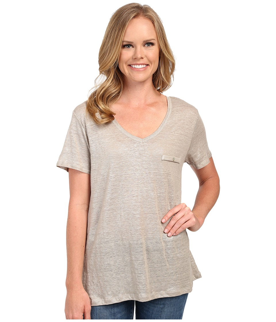 The Beginning Of - Metallic Slub V Oversized Tee (Sand) Women's T Shirt