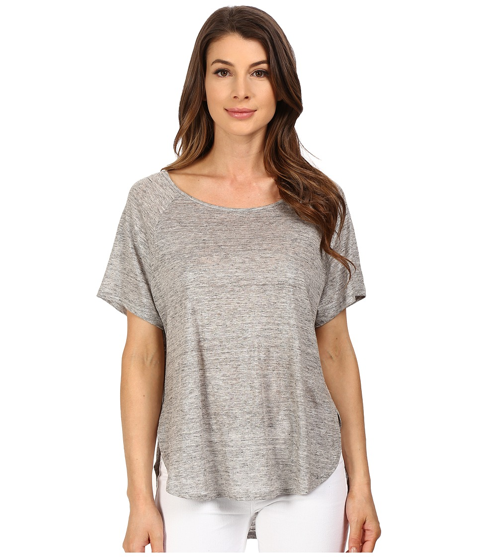 The Beginning Of - Metallic Short Sleeve Curved Hem (Heather Grey) Women's Clothing