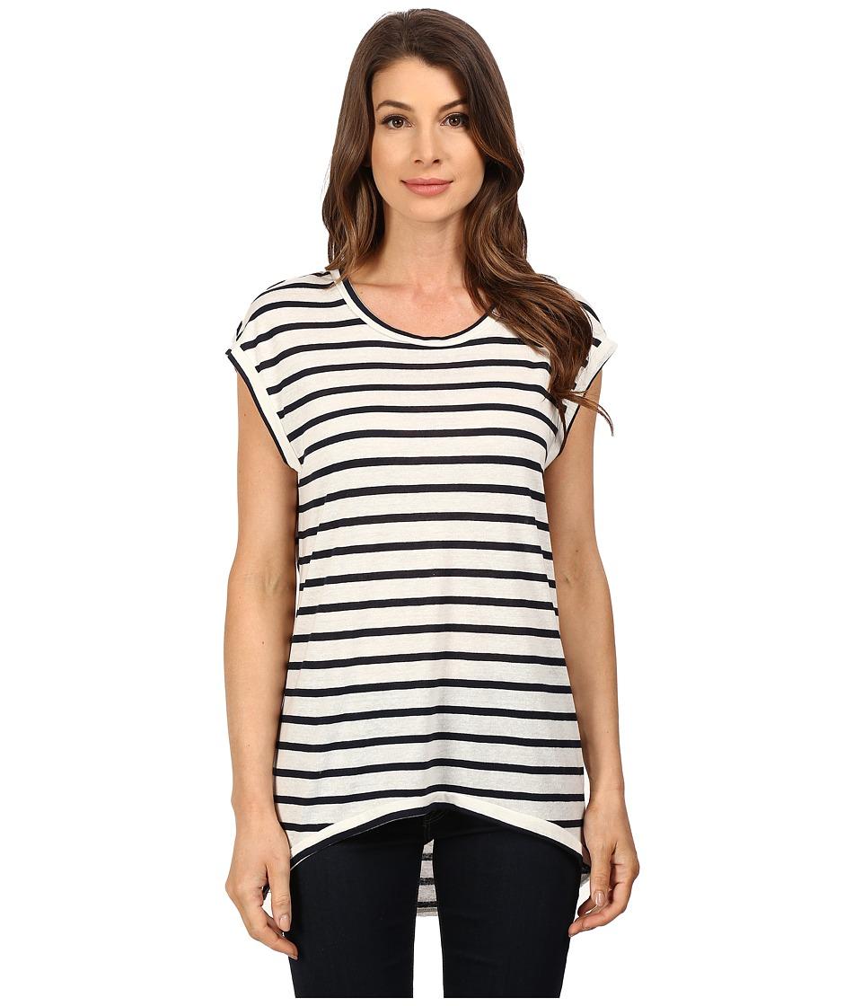 The Beginning Of - Fiona High-Low Tee (White/Indigo) Women's T Shirt