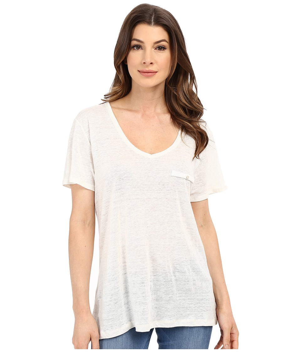 The Beginning Of - Metallic Slub V Oversized Tee (White) Women's T Shirt