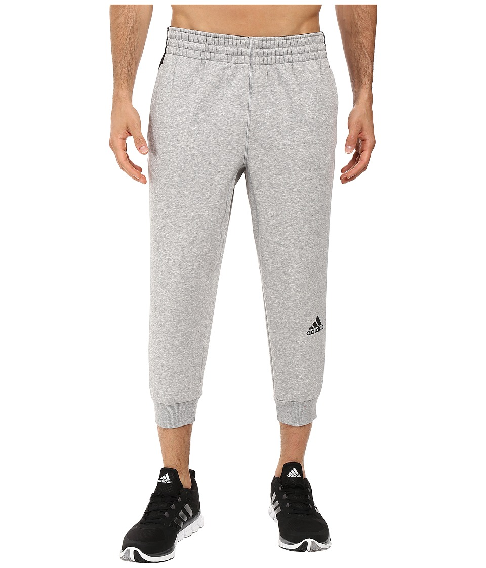 adidas - Slim 3-Stripes 3/4 Sweatpants (Medium Grey Heather/Black) Men's Casual Pants