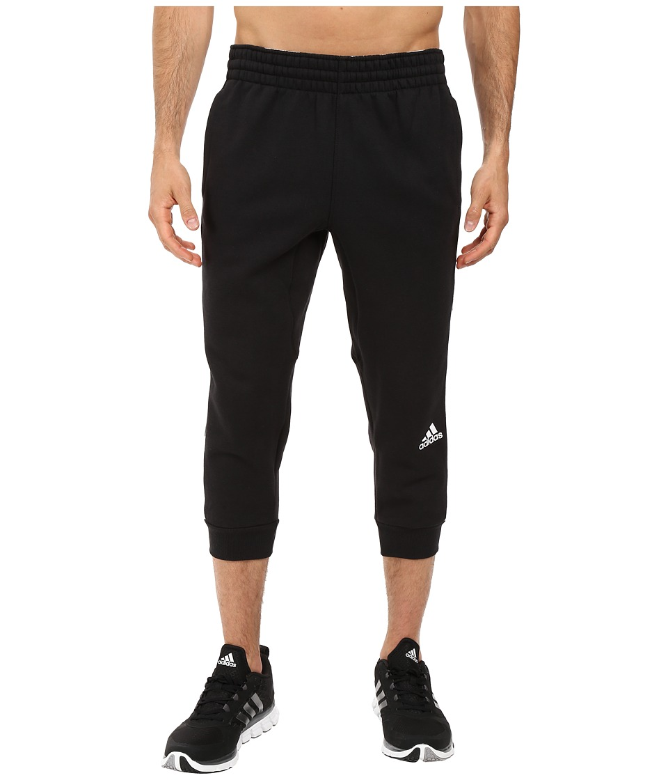 adidas - Slim 3-Stripes 3/4 Sweatpants (Black/White) Men's Casual Pants