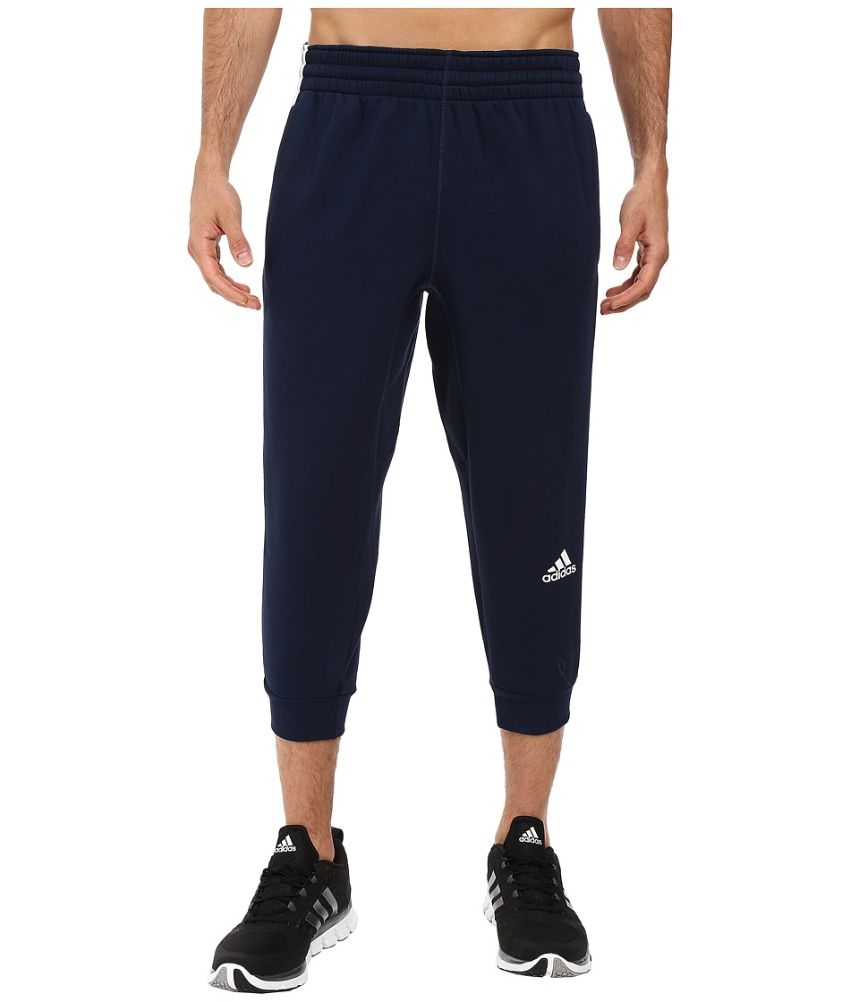 adidas - Slim 3-Stripes 3/4 Sweatpants (Collegiate Navy/White) Men's Casual Pants