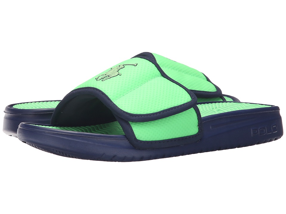 Polo Ralph Lauren - Romsey (Neon Green/Newport Navy Synthetic) Men's Slide Shoes