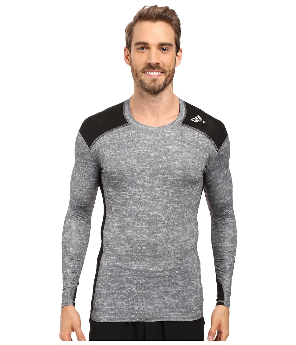 adidas - Techfit Base Layer Long Sleeve Tee (Core Heather/Black) Men's T Shirt