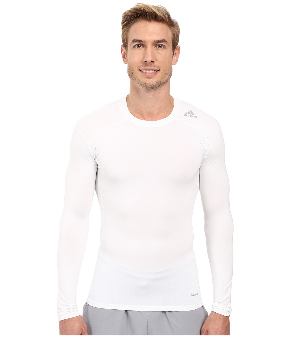 adidas - Techfit Base Layer Long Sleeve Tee (White) Men's T Shirt