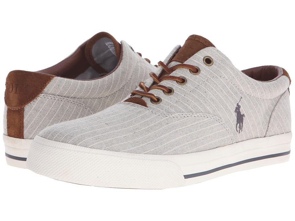 Polo Ralph Lauren - Vaughn (Grey Suiting Stripe Canvas) Men's Lace up casual Shoes