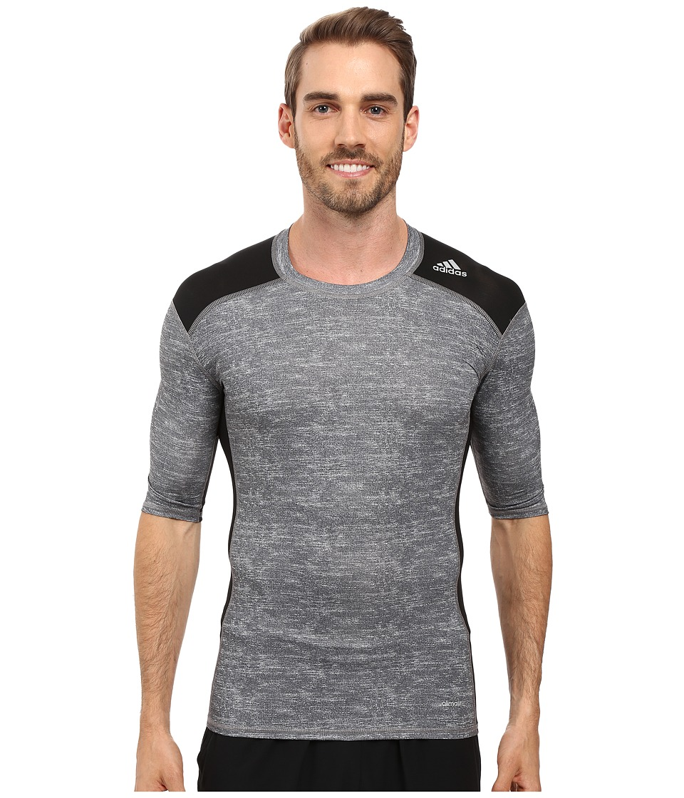 adidas Techfit Base Layer Short Sleeve Tee (Core Heather/Black) Men