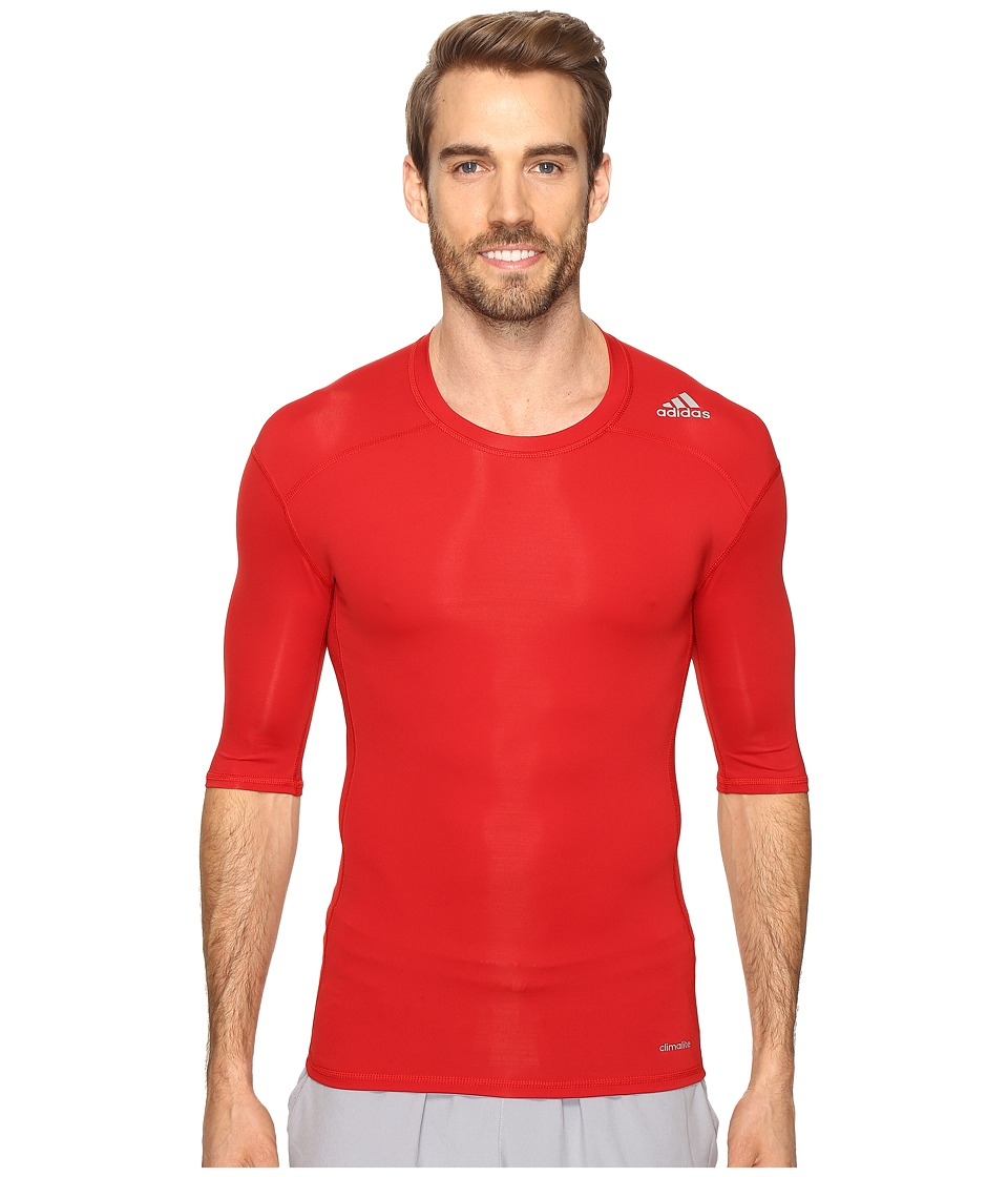 adidas - Techfit Base Layer Short Sleeve Tee (Power Red) Men's T Shirt