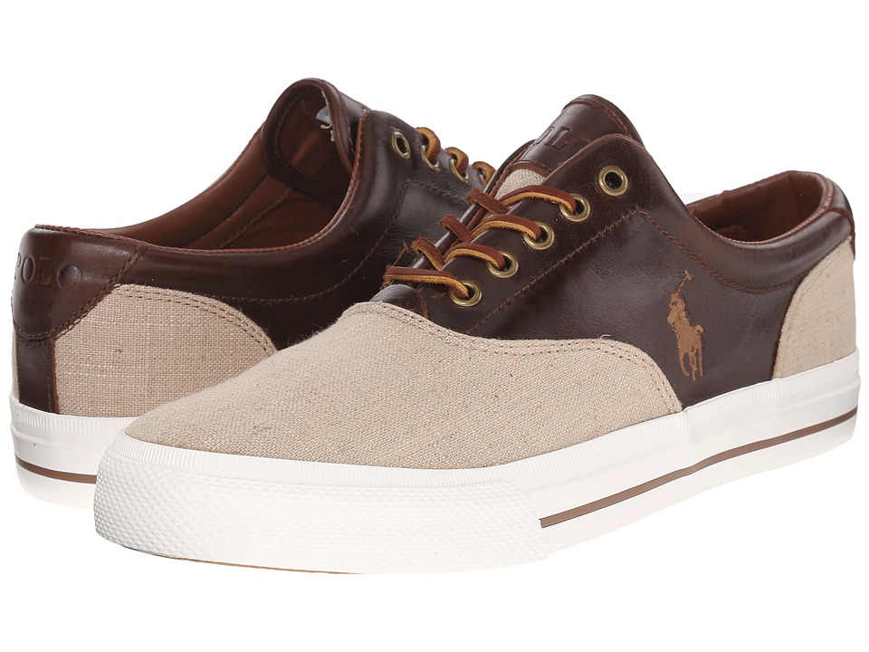 Polo Ralph Lauren - Vaughn Saddle (Natural/Tan Flax Linen/Leather) Men's Lace up casual Shoes