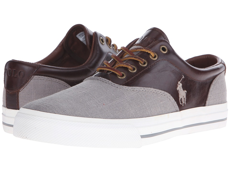 Polo Ralph Lauren - Vaughn Saddle (Grey/Tan Flax Linen/Smooth Oil Leather) Men's Lace up casual Shoes