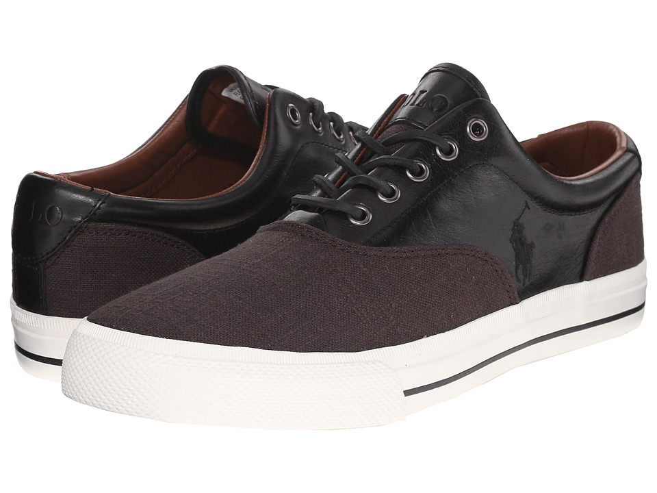 Polo Ralph Lauren - Vaughn Saddle (Black/Black Flax Linen/Smooth Oil Leather) Men's Lace up casual Shoes