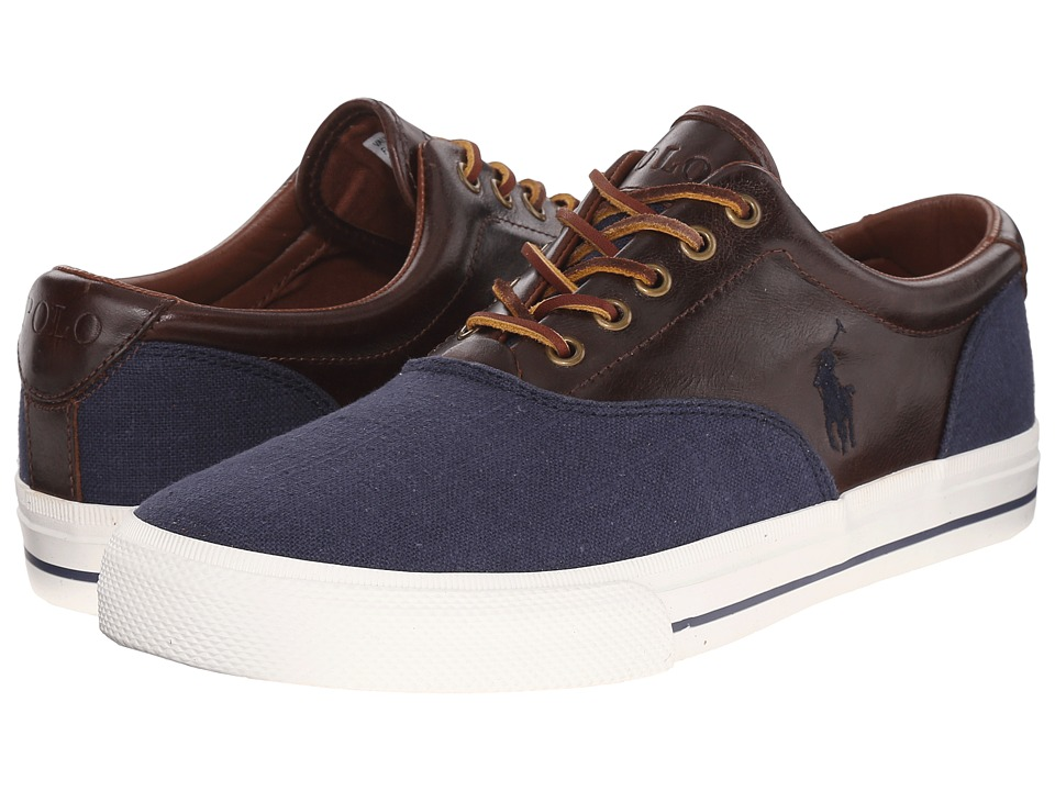 Polo Ralph Lauren - Vaughn Saddle (Indigo Blue/Polo Tan Flax Linen/Smooth Oil Leather) Men's Lace up casual Shoes