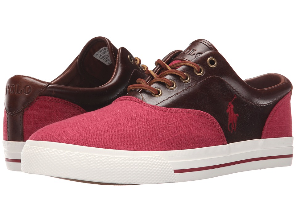Polo Ralph Lauren Vaughn Saddle (Red/Tan Flax Linen/Leather) Men