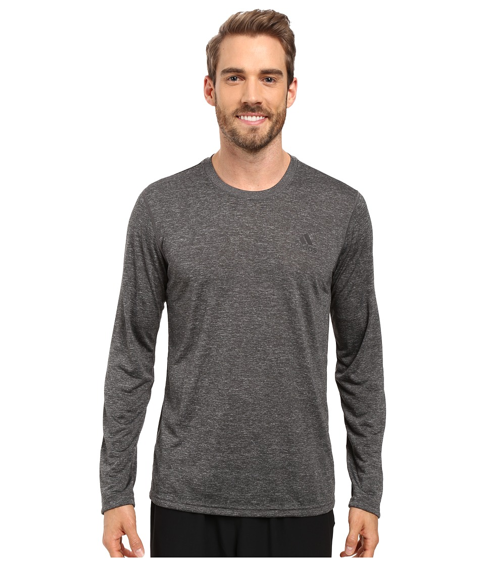 adidas - Ultimate Long Sleeve Tee (Dark Grey Heather/Solid Grey/Dark Grey Heather) Men's T Shirt