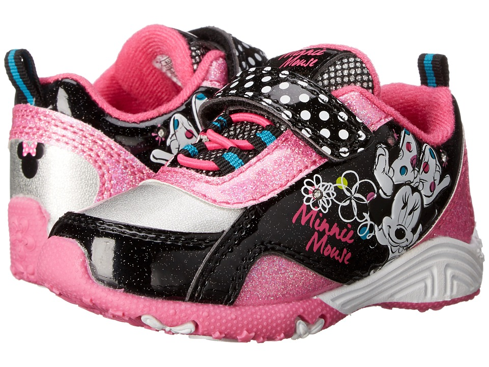 Josmo Kids - Minnie Bungee Sneaker (Toddler/Little Kid) (Black Patent/Fuchsia) Girls Shoes
