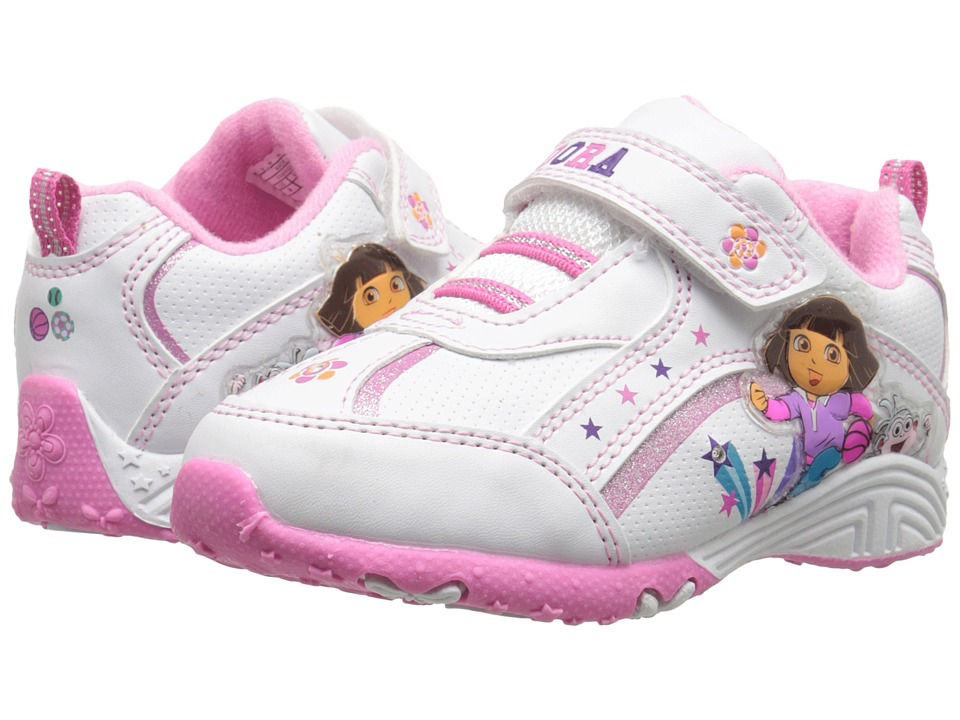 Josmo Kids Dora Lighted Sneaker (Toddler/Little Kid) (White/Pink) Girls Shoes