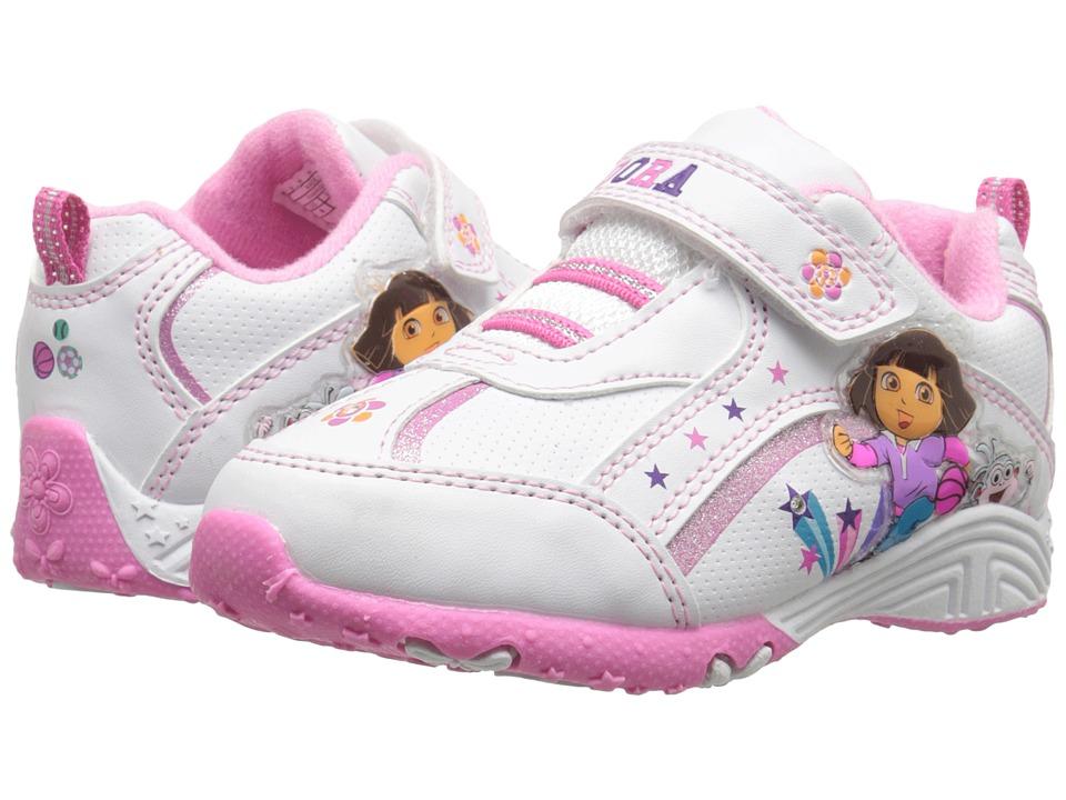 Josmo Kids Dora Lighted Sneaker (Toddler/Little Kid) (White/Pink) Girls Shoes