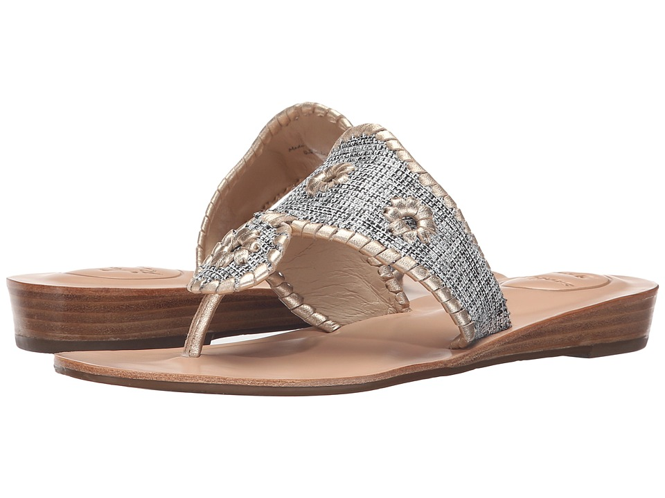 Jack Rogers - Madeline (Black Fabric/Platinum) Women's Sandals