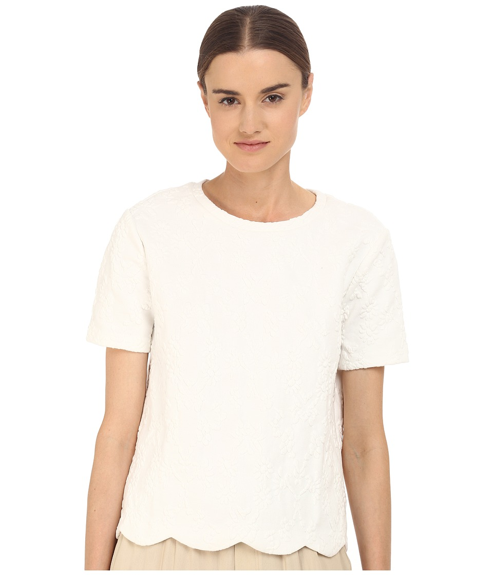 Armani Jeans - Cotton/Poly Stretch Flower Jacquard Jumper (White) Women's Short Sleeve Pullover