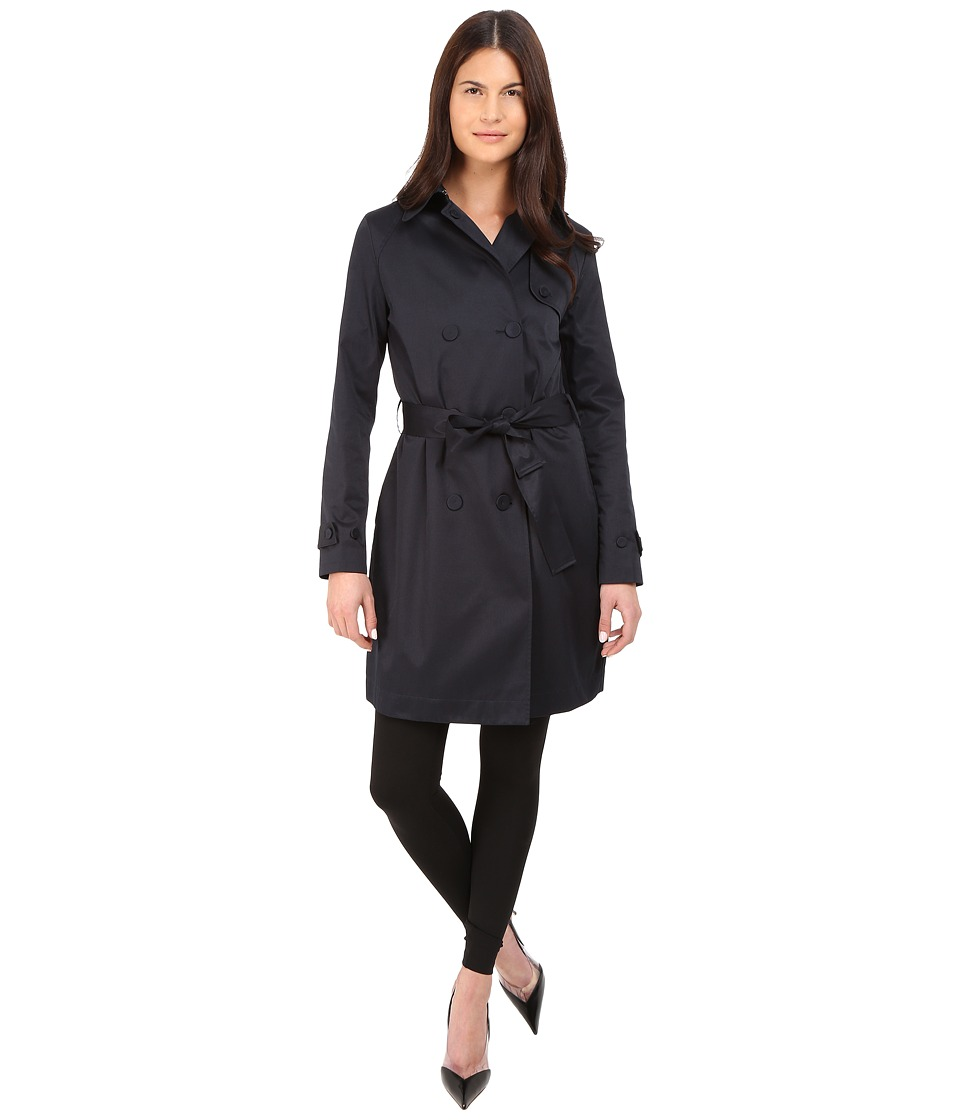 Armani Jeans - Shiny Twill Poly/Cotton Satin Coat (Blue) Women's Coat