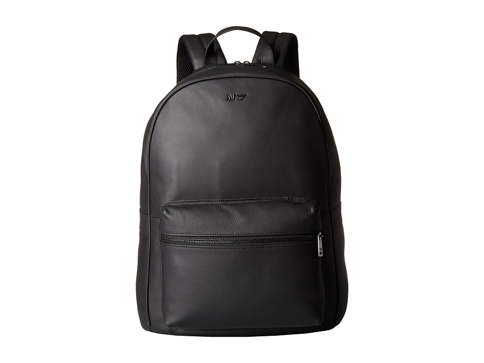 Armani Jeans - Leather Zaino (Black) Backpack Bags