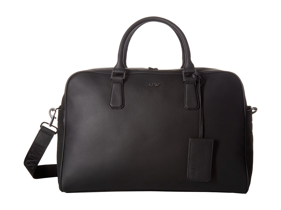 Armani Jeans - Leather Holdall (Black) Bags