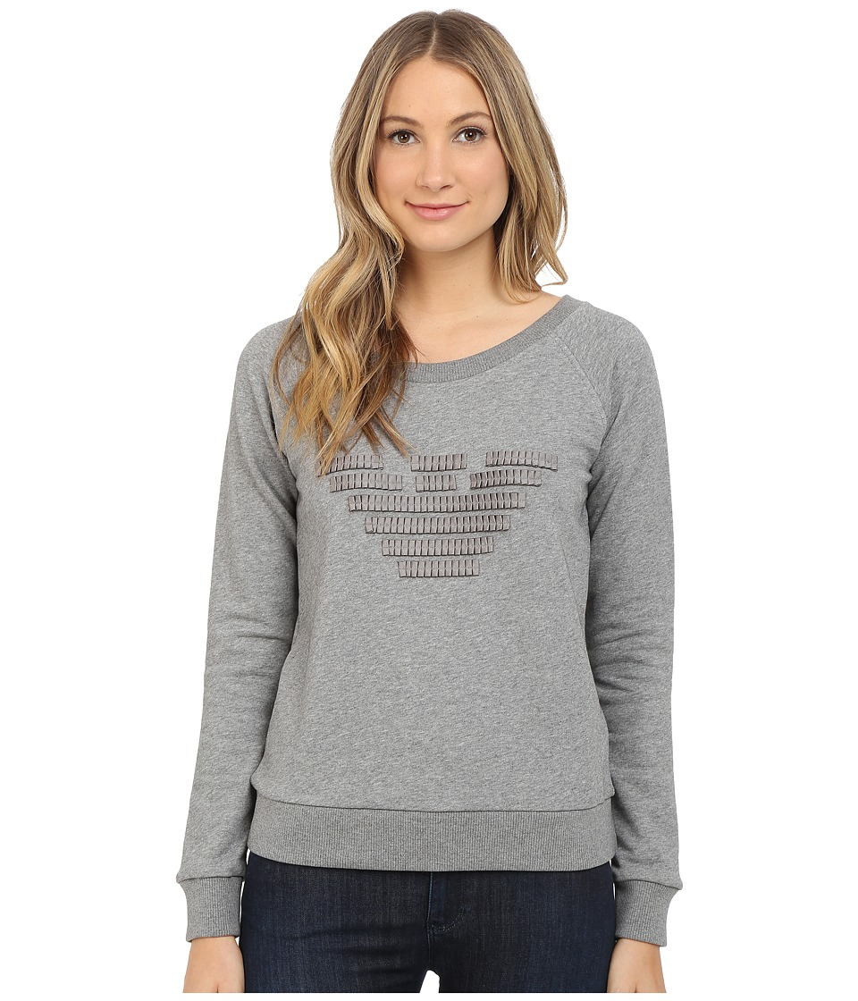 Armani Jeans - Giorgio Armani Grosgrain Eagle Sweatshirt (Heather Grey) Women's Sweatshirt