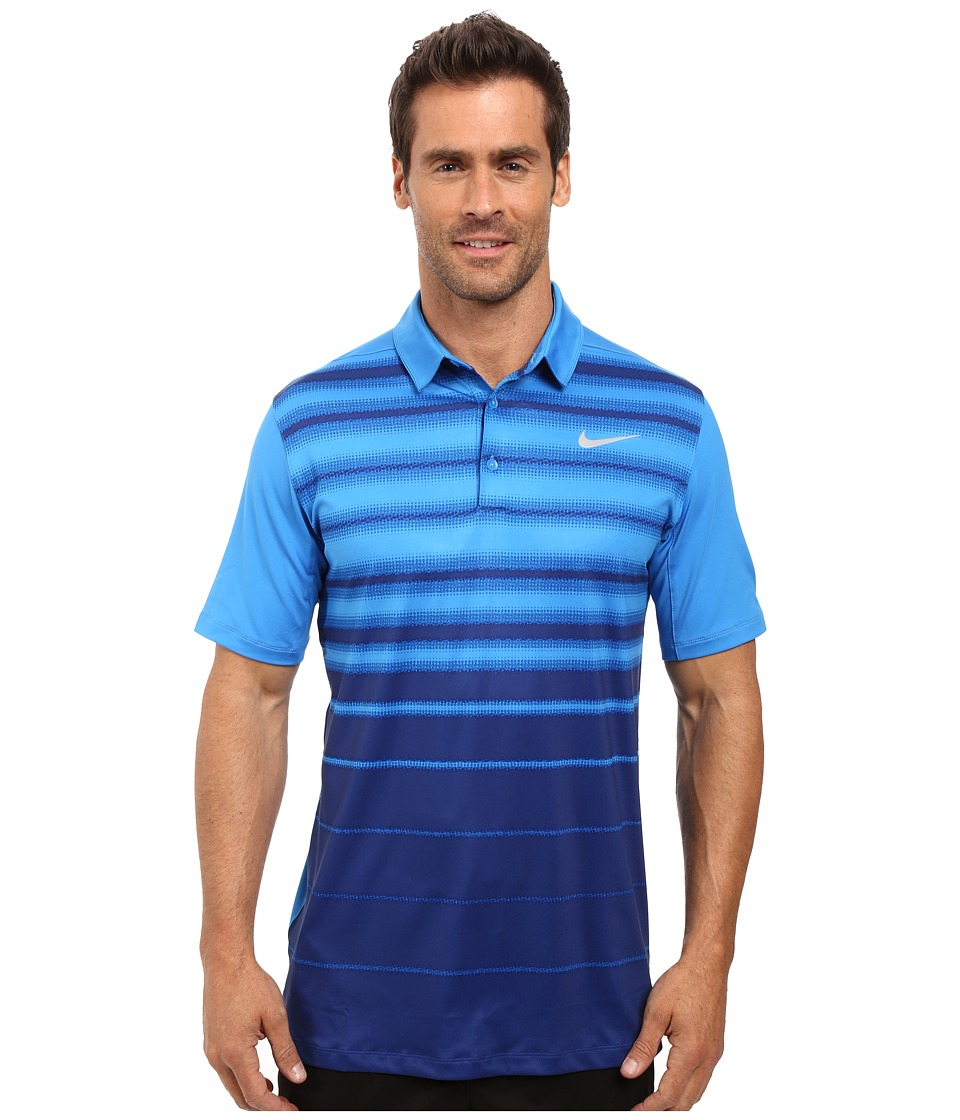 Nike Golf - Mobility Fade Stripe Polo (Light Photo Blue/Light Photo Blue/Flat Silver) Men's Short Sleeve Pullover