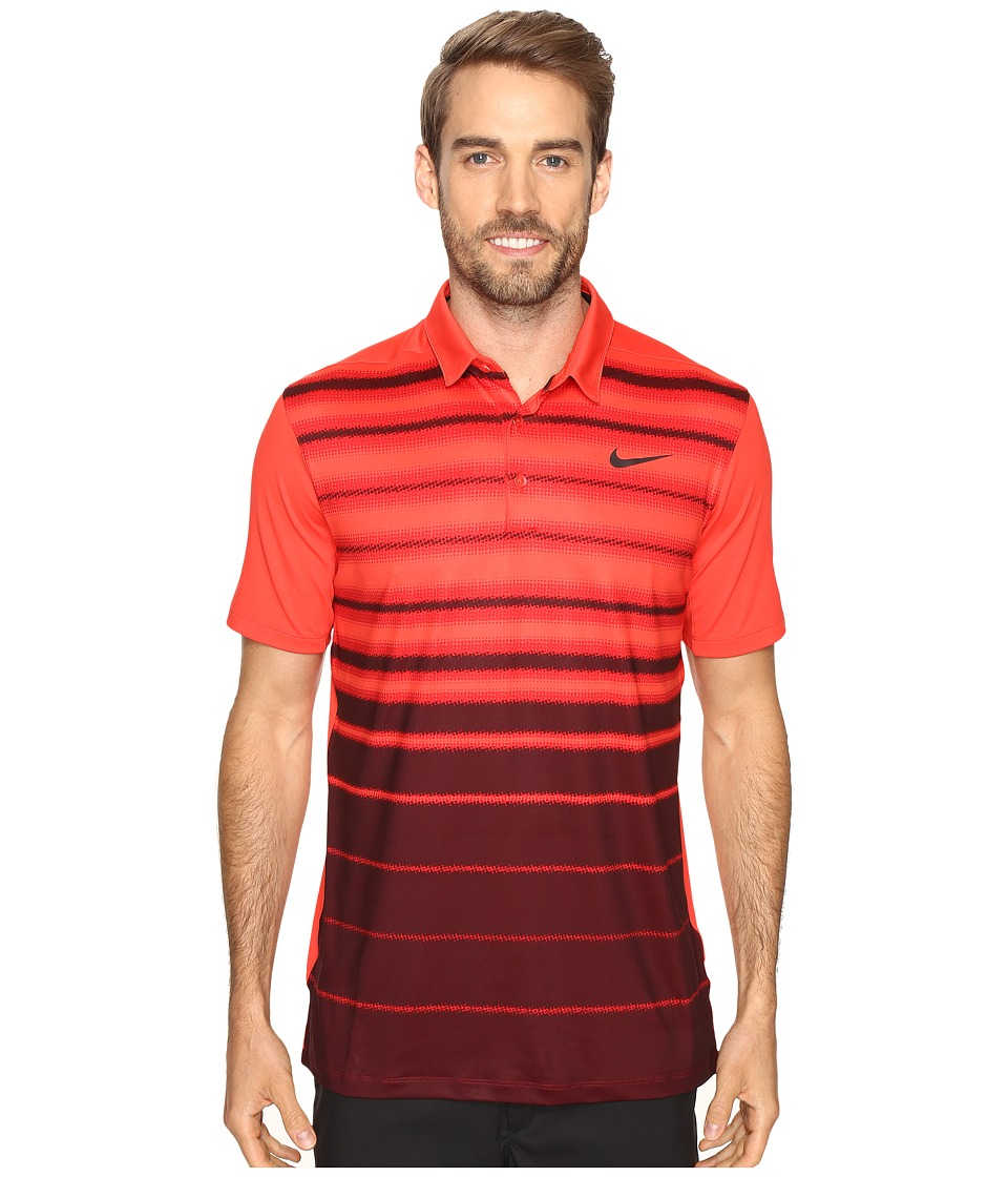 Nike - Mobility Fade Stripe Polo (Light Crimson/Light Crimson/Flat Silver) Men's Short Sleeve Pullover
