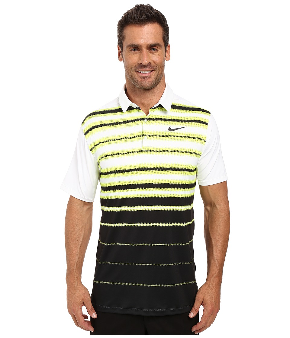 Nike - Mobility Fade Stripe Polo (Volt/White/Flat Silver) Men's Short Sleeve Pullover