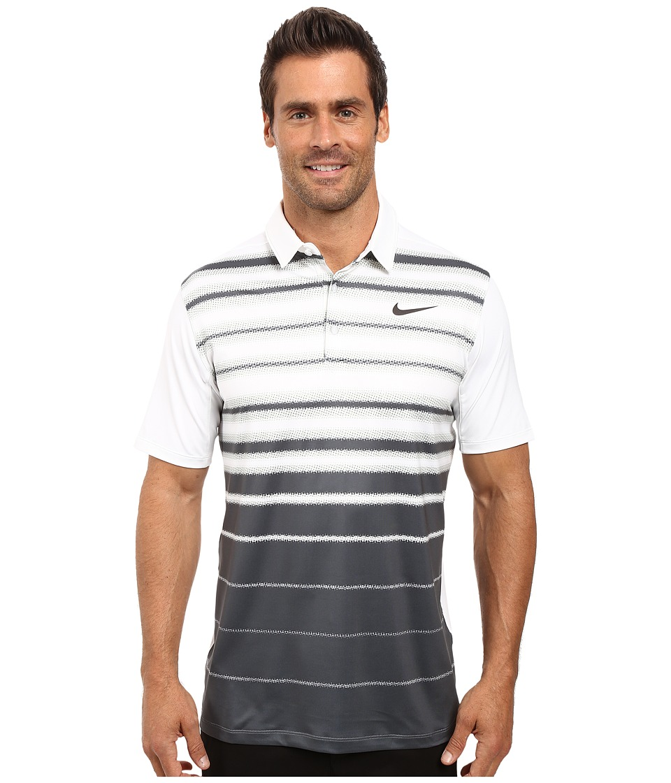 Nike - Mobility Fade Stripe Polo (White/White/Anthracite) Men's Short Sleeve Pullover